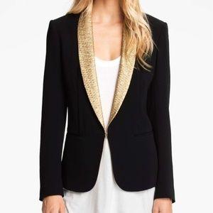 Rag & Bone Black Gold Blazer Jacket 8